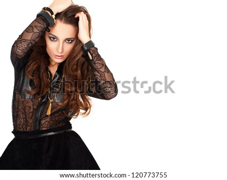 Sexy fashionable woman with empty space