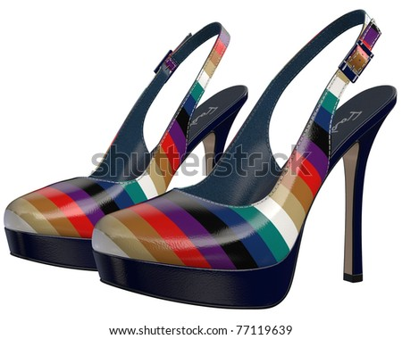 Sexy female striped high-heeled stiletto slingbacks shoes sandals (fake brand)