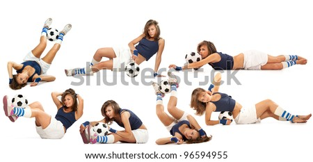 Sexy girl doing fitness exercises with soccer ball over white background