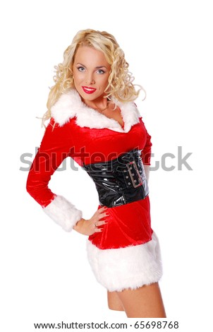 Sexy girl is posing in a christmas costume