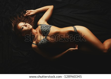 Sexy girl is underwear in black - stock photo