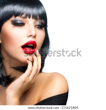 Sexy Girl isolated on a White Background.Hot Brunette.