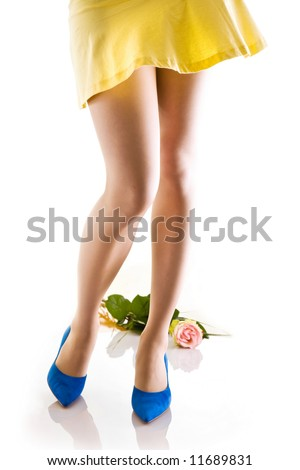 sexy girl legs in blue shoes and a rose on a background