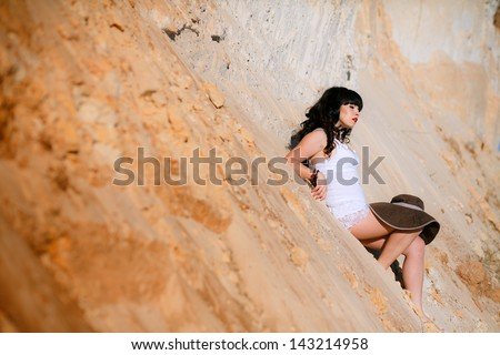 sexy girl on the sand #143214958
