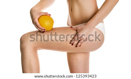 Sexy girl shows cellulite and orange