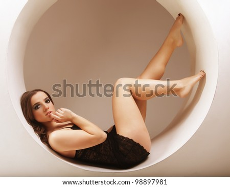 sexy girl sitting in a circle