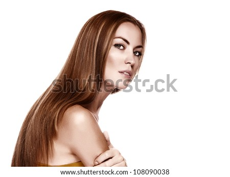 Sexy girl with beautiful long straight hair