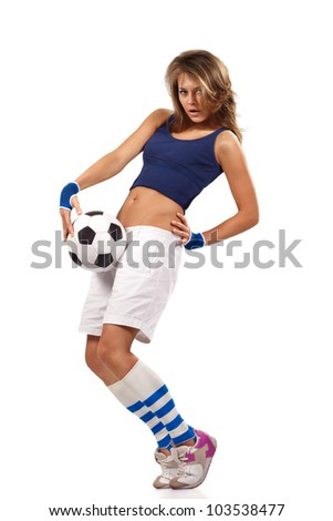 Sexy girl with soccer ball with over white background