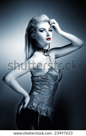 stock photo : Sexy gothic woman with creative hairstyle