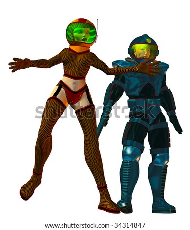 Sexy green Space Gal, jumps as earth man Astronaut with a ray gun looks on. Clean white background.