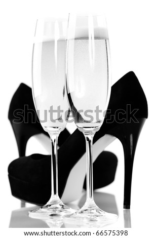 sexy high heels and champange or sparkling wine