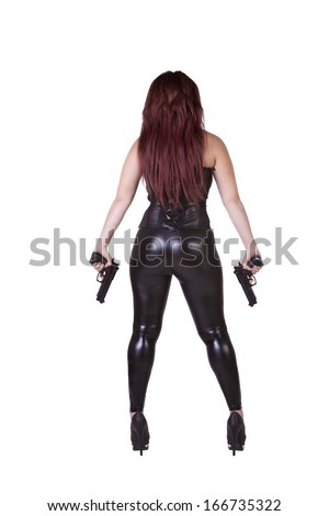 Sexy Hispanic Girl Posing on an Isolated Background with Guns