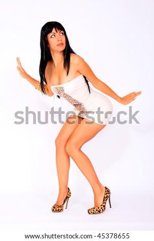 Sexy hot female in white dress