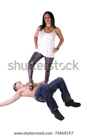 sexy image of a woman dominating over man- isolated