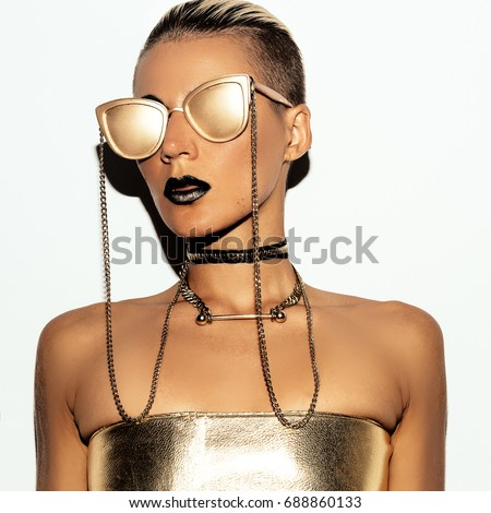 Sexy Lady Swag Luxury style. Gold Party. Gold glasses.