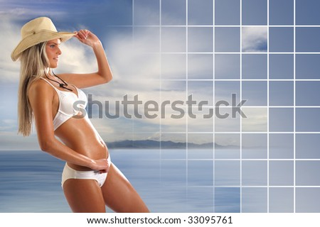 Sexy lady wearing swimsuit and hat isolated on white