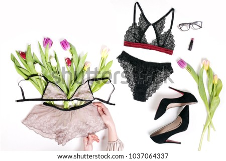 Sexy lingerie on white background. Women's clothing accessories fashion purchase. Spring elegant style   - Shutterstock ID 1037064337