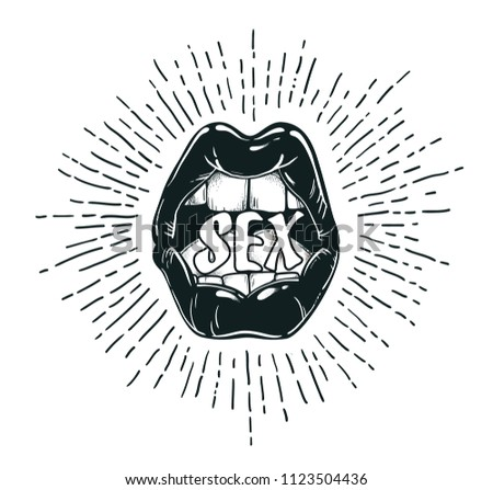 Sexy lips in vintage style. Creative unique design for emblem, t-shirt, sticker, poster, wall decoration, print.