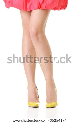 Sexy long legs isolated over white background