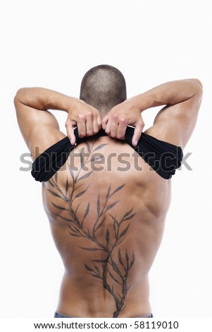 stock photo Sexy male's back with tattoo