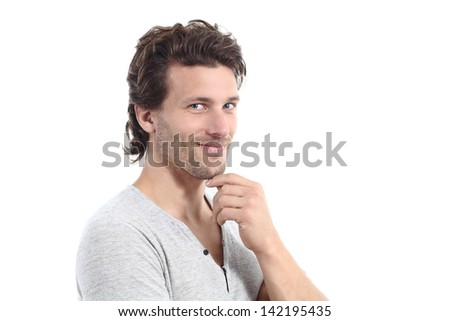 Sexy man looking at camera isolated on a white background