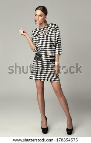 Sexy model on grey background