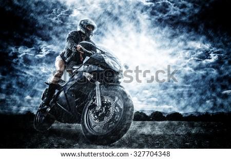 Sexy motorbike female rider #327704348