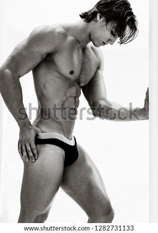Sexy muscular male model in underwear.