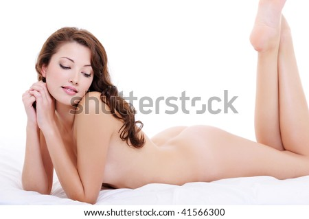 stock photo sexy nude body of a pretty young female lying down on the bed 41566300 www.yourbag.com