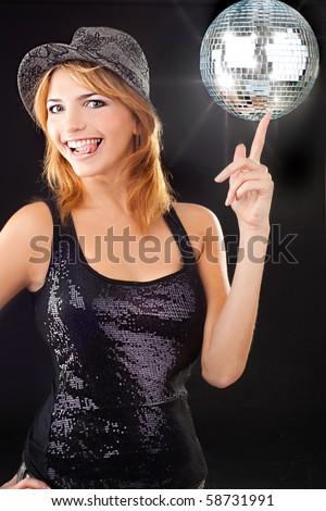 stock photo sexy party girl enjoying with disco ball 58731991 hotwife sex in front of husband