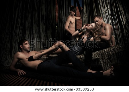 Sexy people in elegant room