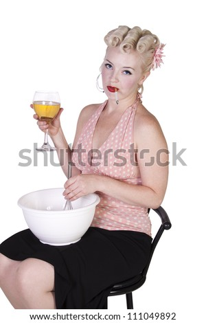 Sexy Retro Woman Drinking Wine and Smoking while Cooking - Isolated Background