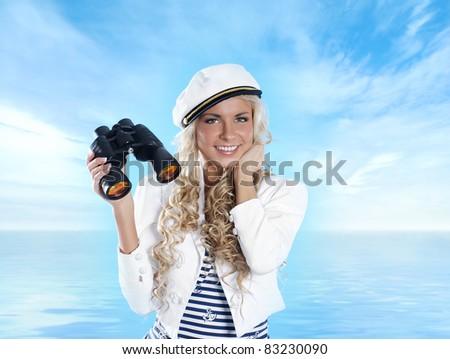Sexy sailor over blue - stock photo
