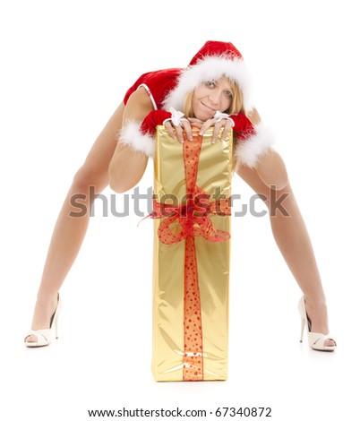 sexy santa girl bending on long golden package