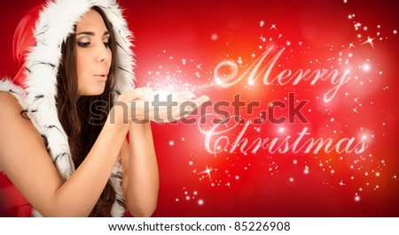 "sexy santa girl blowing magical ""Merry Christmas"" text"