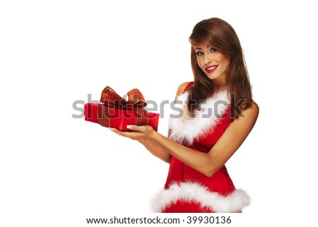 Sexy santa helper on white background holding a gift