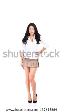 curly brunette short skirt