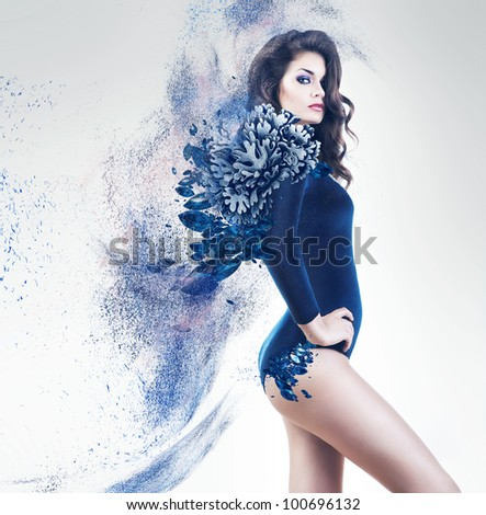 sexy sensual woman in blue dust