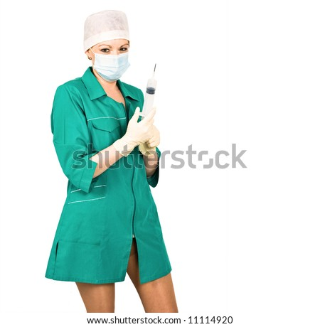 sexy short uniformed nurse with filled syringe in her hands