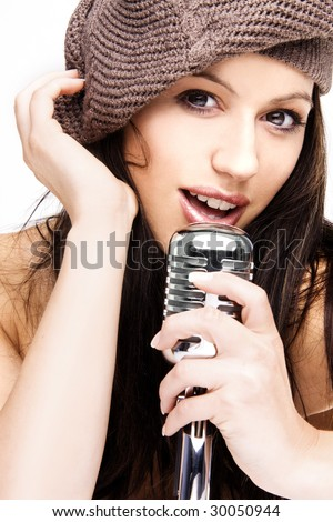 sexy singer with retro microphone