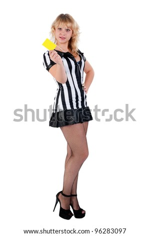Sexy Soccer Referee with yellow card - stock photo