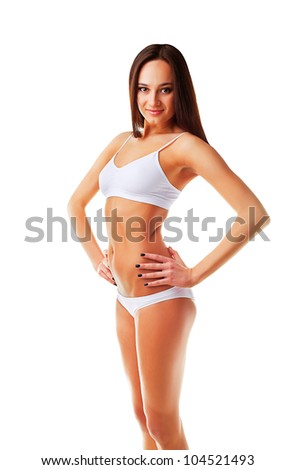 Sexy sporty slim woman on white background