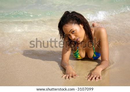 sexy swimsuit girl on beach