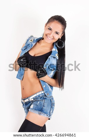 9bcbda9e8f Sexy Young woman in jeans white tank top Images and Stock Photos ...