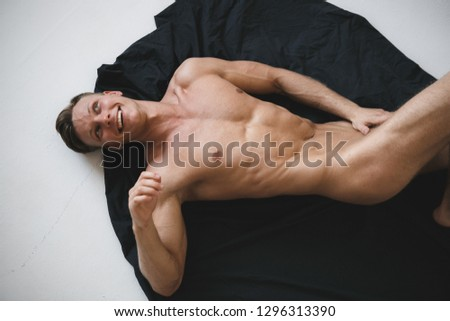 sexy topless man on white background