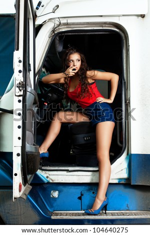 sexy truck driver stock photo 104640275 shutterstock. Black Bedroom Furniture Sets. Home Design Ideas