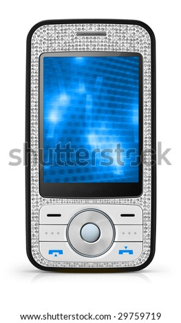 Sexy White Mobile Phone - An executive and unique mobile phone with clipping paths and screen.