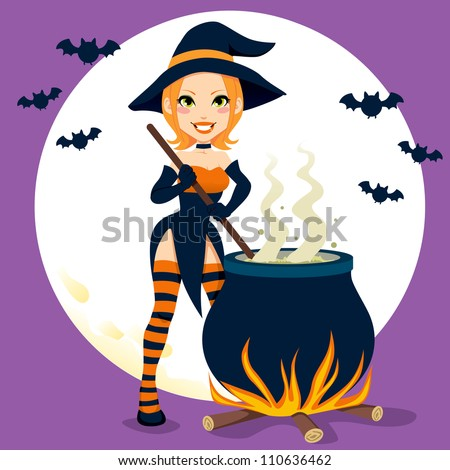Sexy witch cooking magical Halloween potions with cauldron - stock photo