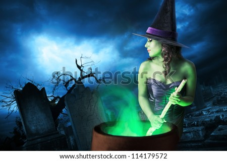 Sexy witch on a dark background
