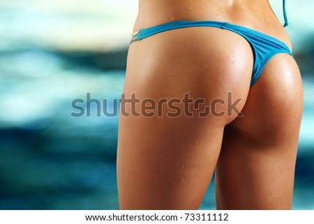 sexy woman buttocks on beach